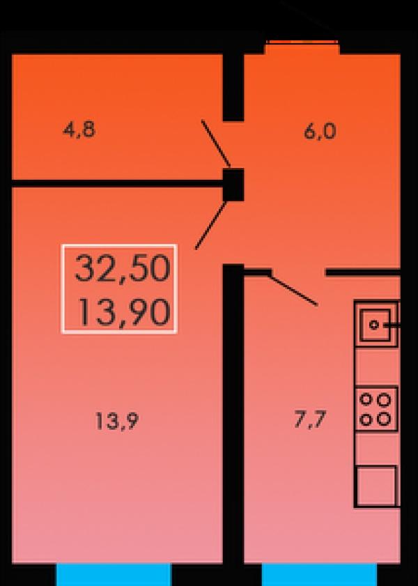 Планировки однокомнатных квартир 32.5 м^2